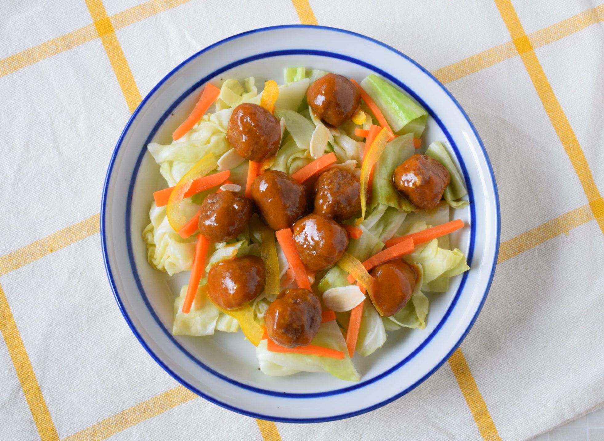 カレーミートボールのサラダ
