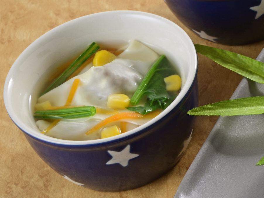 朝ミートボールのワンタンスープ