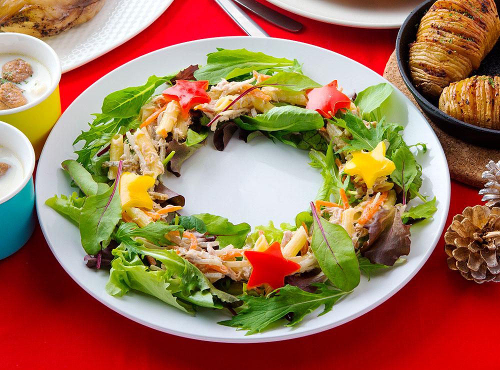 ごぼうとマカロニのリースサラダ