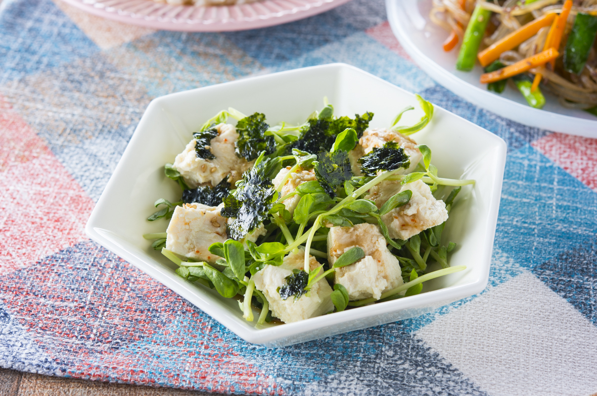 豆苗と豆腐のチョレギサラダ